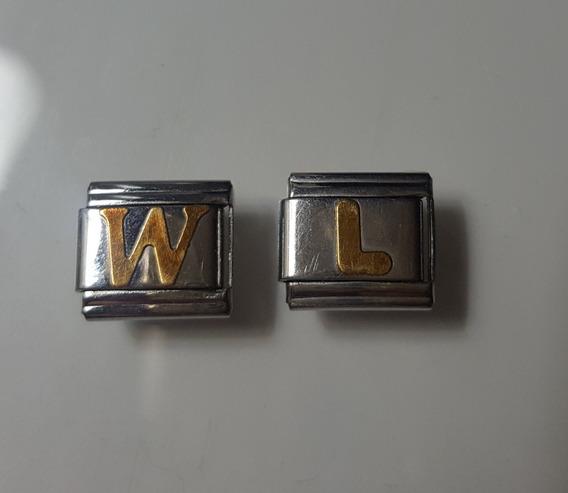 Charm Pulseira Elastica Em Aço Firenze Letras Em Ouro