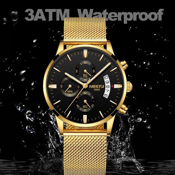 Relógio Masculino Nibosi Ultrafino Retro De Luxo Original