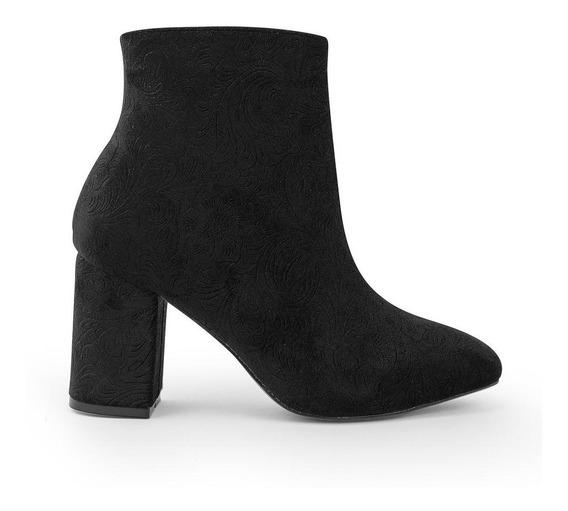 Zapatos Botines Dama Gamuza Moda Textura Negros 8334