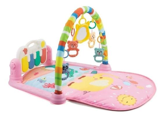 Tapete De Atividades Para Bebê Piano Musical Alegria Rosa