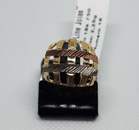 Anel Em Ouro 18k 750 Vazado Com 3 Cores Ouro 2,25g Impecavel