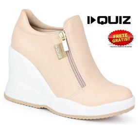 Tênis Quiz Sneaker Zíper 67-19903 Feminino Original Nude
