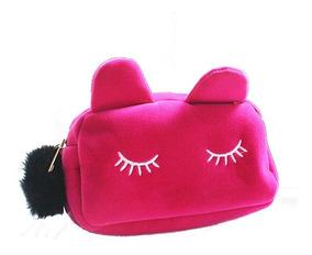 Necessaire Feminina Maquiagem Acessórios Gatinho Preto Pink