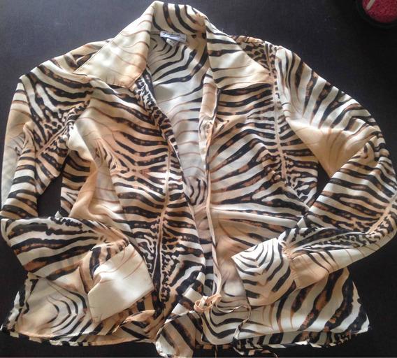 Animal Print Camisa Transparente
