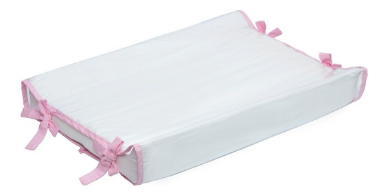 Trocador De Cômoda Americano Branco/rosa 100% Algodão