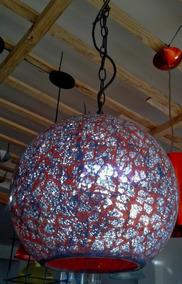 Lustre Pendente Oriental Vintage Vermelho Espelhado 30cm E27