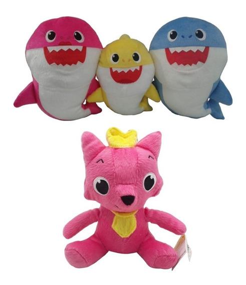 4 Pelúcias, Baby Shark Raposa Musicais C/ Luz + Frete Grátis