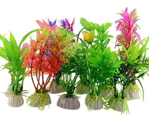 Imagem 1 de 1 de Plantas Artificiais Aquário Decoração : 3un 20cm + 3un 30cm