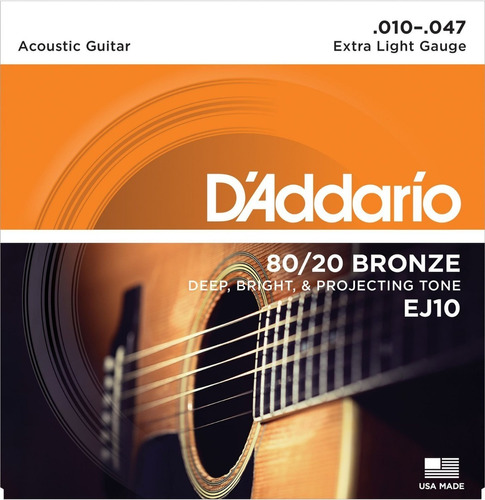 Imagen 1 de 2 de Daddario 80/20 Bronze Ej10 Encordado Para Acústica .010