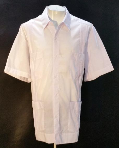 Guayabera De Lino-algodón Marca Koh Color Blanca 287