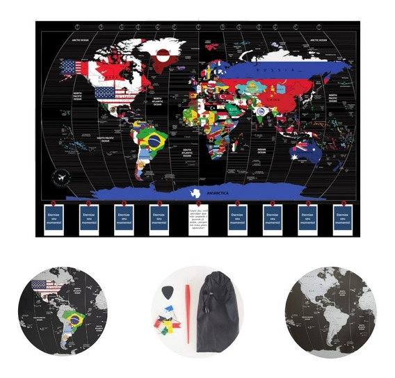 Mapa Do Mundo Raspadinha Luxo Bandeiras Mapa De Raspar