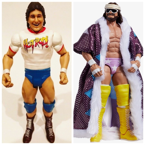 Macho Man Randy Savage Elite + Roddy Rowdy Piper Wwe Bonecos