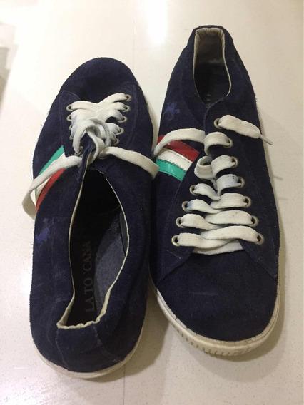 Zapatillas Con Cordón Tascani Talle 42 Gamuza Azul