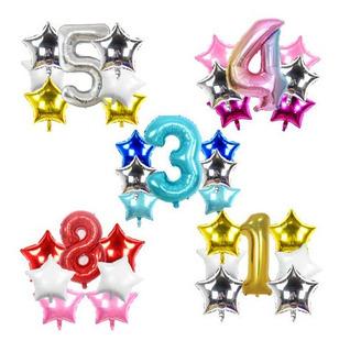 Set 12 Globos Metalizado Numero Estrella Confetti Cumple