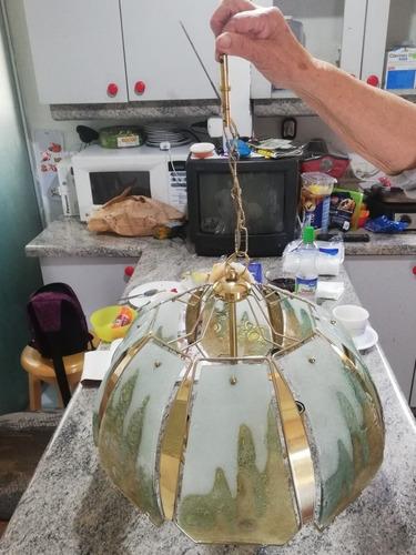 Imagen 1 de 7 de Lámpara De Bronce 4 Luces Con Vitral. Antigua