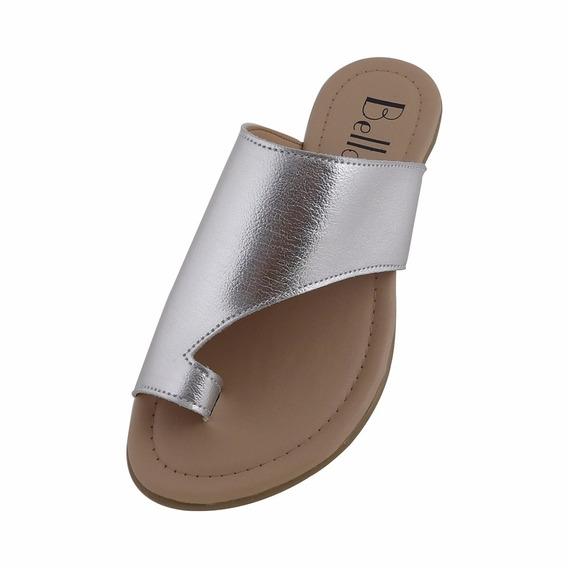 Sandália Rasteira Bella Shoes Prata