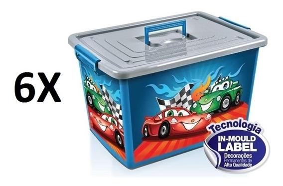 Kit 6 Baú Caixa Organizadora Container Infantil Com Rodinhas