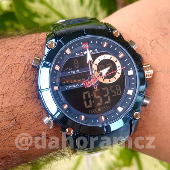 Relógio Naviforce 9163 Original De Aço Azul - Anadigi