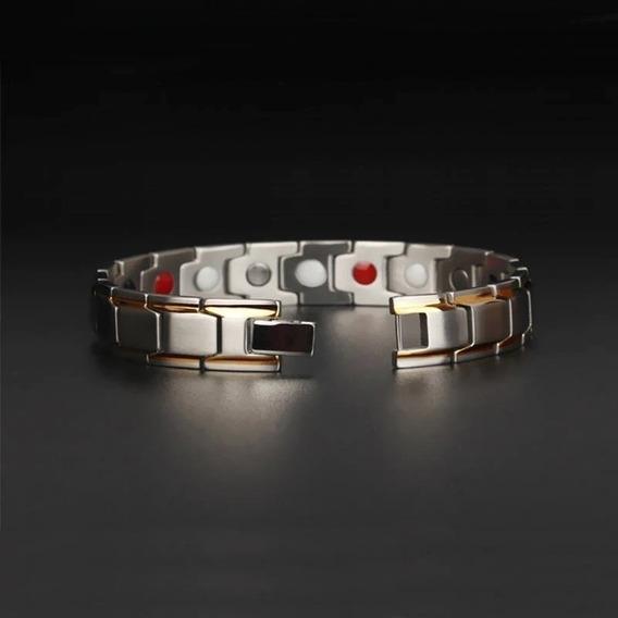 Pulseira Masculina Magnética Aço Titânio + Filetes Ouro 18k