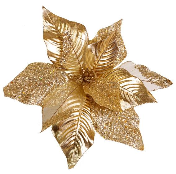 Poinsettia Hoja Metalizada/velo Escarch 35cm Dorado