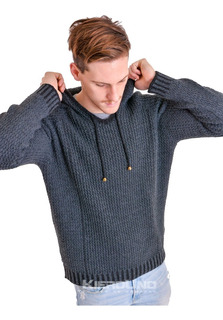 Sweater Con Capucha Hombre Saco Lana Gris Moda Kierouno