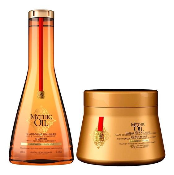 Shampoo Mascara Baño De Crema Loreal Mythic Oil Grueso Seco