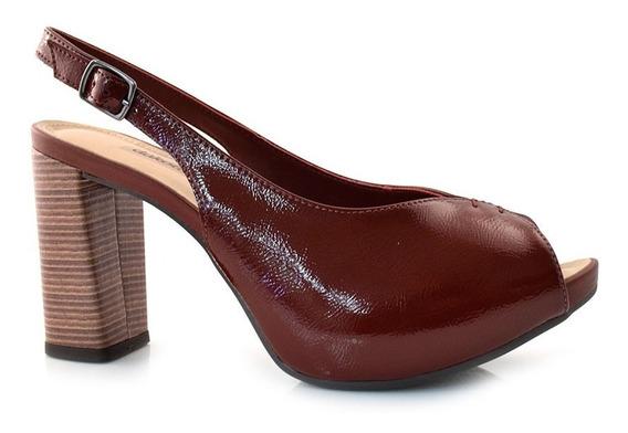 Peep Toe Sapato Salto Grosso Dakota G1341 Feminino Conforto