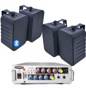 Combo Música Funcional Comercio Consola Bluetooth + 4 Bafles