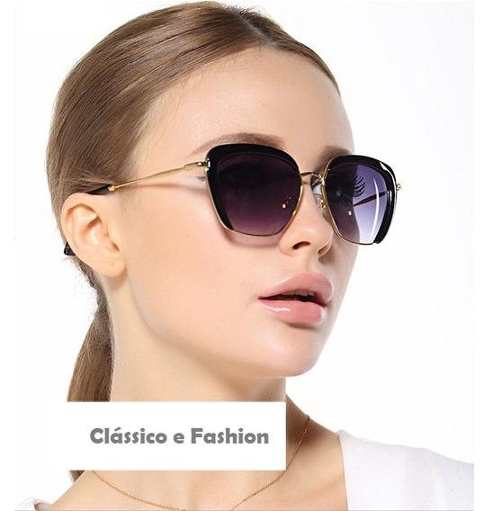 Oculos Sol Classico Cat Eye Fashion Dourado Preto Degrade Uv