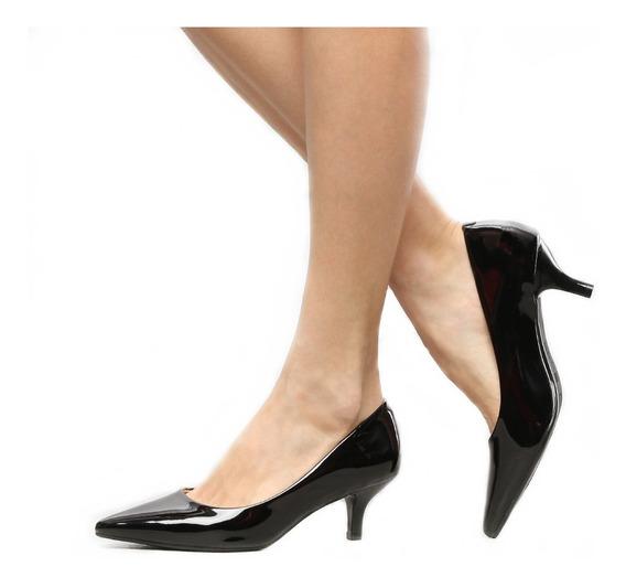 Sapato Scarpin Feminino Salto Médio Baixo 6,5 Cm Sofisticado