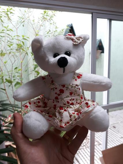 Ursinha Ursa Mini Pelúcia Vestido Florido 20cm Lembrancinha
