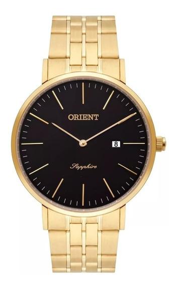 Relógio Orient Masculino Slim Dourado Safira Mgsss004 P1kx