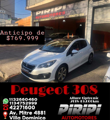 Imagen 1 de 13 de Peugeot 308 2018 1.6 Allure Pack Thptiptronic,$769.999 Y Cta