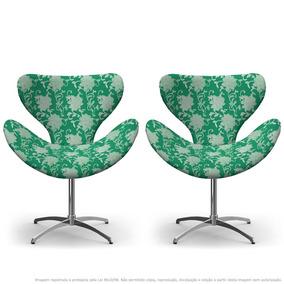 Kit 02 Cadeiras Egg Floral Verde Com Base Giratória
