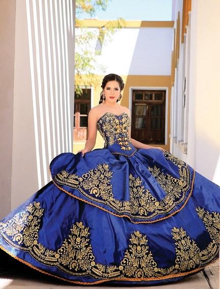 Vestidos De 15 Años Azul Rey De Charra Ropa Bolsas Y