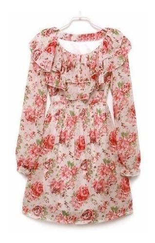 Vestido De Gasa Floral Para Niña Nuevo Importado Elle851