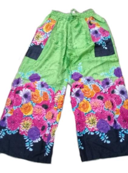 Pantalon Hindu Palazo Elástico En Cintura