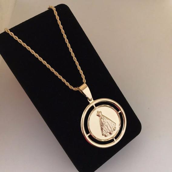 Medalhão De Aparecida Com Corrente Modelo Cordão Banhada