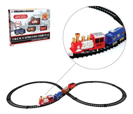 Ferrorama Trem Eletrico Com Trilhos E Vagoes Orbital 19pçs