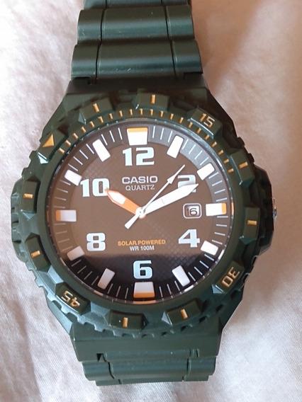 Relógio Casio Solar 100m Verde Militar Original Lindo!!!