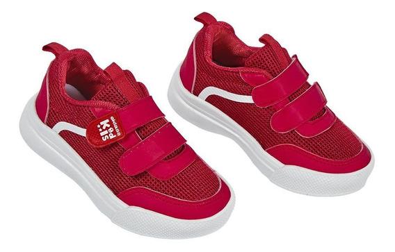 Zapato Tenis Niño Color Rojo Deportivo Con Contactel Cklass