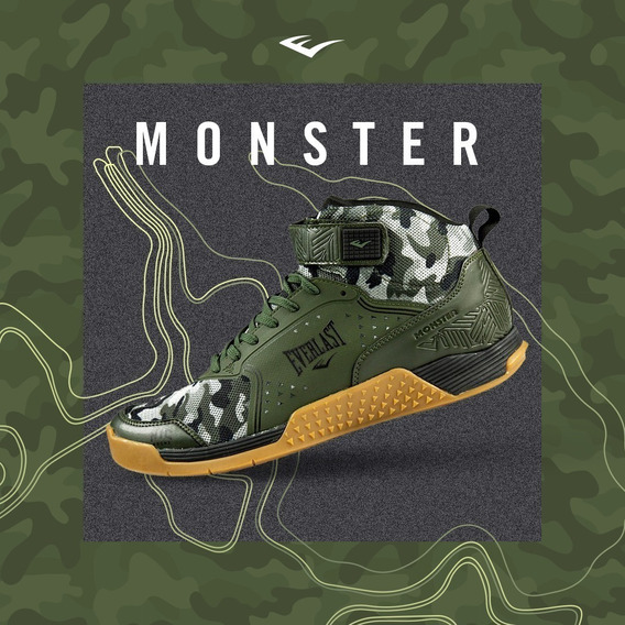 Tênis Everlast Monster Crossfit Training Lpo Verde Camuflado
