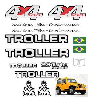 Kit Adesivos Troller Amarelo 2005 4x4 Emblemas Resinados