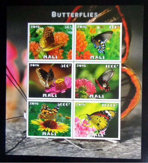 Mali Mariposas, Bloque 6 Sellos S Dentar 2016 Mint L9880