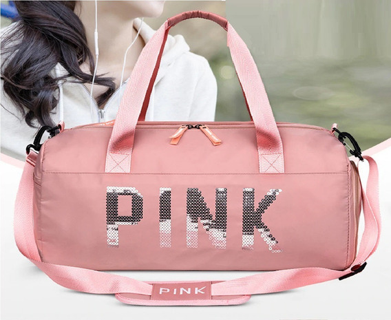 Bolsa Feminina Luxo Pink Rose Academia Treino Fitness Rosa