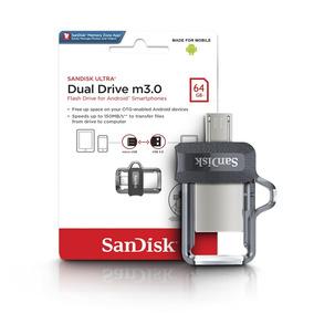 Pendrive 64gb Sandisk Celular E Pc Ultra Dual Drive Lacrado