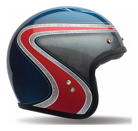 Capacete Bell Custom 500 Airtrix Heritage Azul Cafe Racer