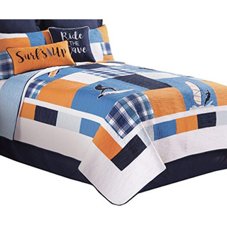 C&f Home Surfer S Cove Quilt, Twin, Blue