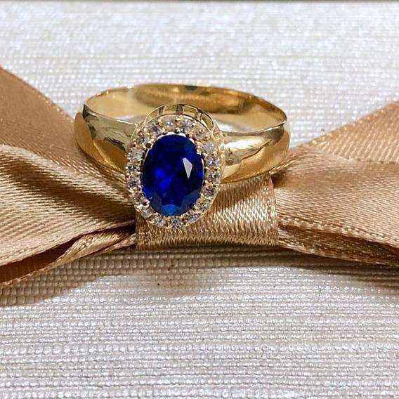 Anel Em Ouro 18k, Com Diamantes E Safira Azul.