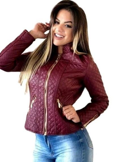 Jaqueta Feminina De Couro Ecológico Forrada- Outlet. Ref:530